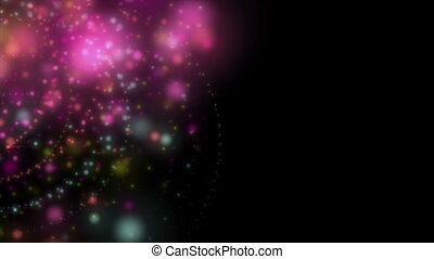 Fantastic video animation with particle object in motion, loop HD 1080p