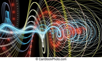 Fantastic video animation with particle stripe object in...