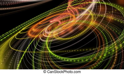 Fantastic video animation with particle stripe object in motion, loop HD 1080p