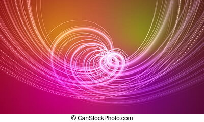 Fantastic video animation with particle stripe object in motion on color changing background, loop HD 1080p