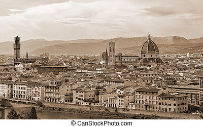 Fantastic view of Florence in Italy with Duomo