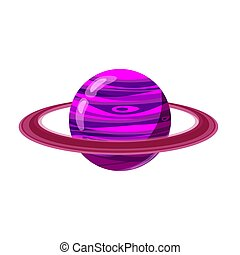 Fantastic violet planet, icon cartoon style, vector isolated for games, applications on white background