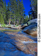 Fantastic Water Streams Photographed in Yosemite National Park in California. Long Shutter Speed Used. HDR Toning.