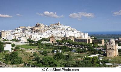 Fantastic white city of Ostuni in Puglia, Italy - View of...