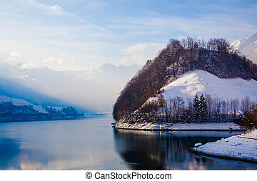 Fantastic winter landscape.  Panoramic view of beautiful winter landscape.  winter background