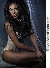 Fantastic woman with deep dark hair - Fantastic, sensual...