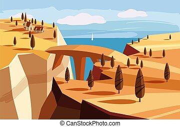 fantastický, krajina, vektor, design, hrdlo, osamocený, hra, karikatura, proložit, fantazie, obzor, hora, ilustrace