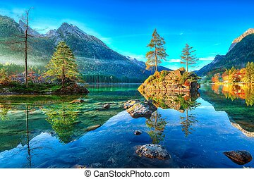 fantastický, podzim, východ slunce, o, hintersee, lake., překrásný, dějiště, o, kopyto, dále, jeden, balvan, island.