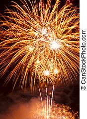 fantastico, colorito, fireworks, con, nero, copyspace
