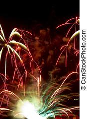 fantastico, fireworks, nero, copyspace, colorito