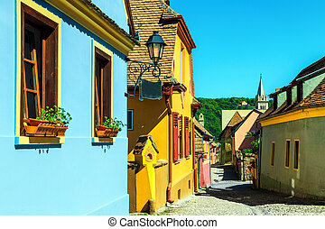 fantastico, medievale, saxon, strada, vista, in, sighisoara, transylvania, romania, europa