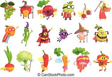 fantastico, set, frutta, sciocco, caratteri, verdura