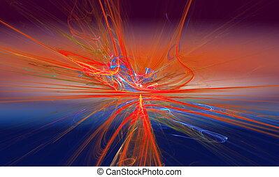 fantastique, art, briller, furieux, horizon., graphiques, aller, ligne, au-delà, fractal, rouges, mouvement