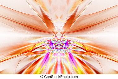 fantastique, art, mouvement, furieux, horizon., graphiques, aller, ligne, au-delà, fractal, symmetrically, rouges, briller