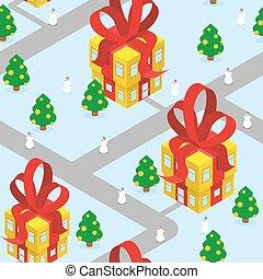 fantastique, bâtiments., arbres., seamless, année, pattern., snowmen, ville, inhabituel, -, district., nouveau, noël, rouges, urbain, town-christmasburg, boîte, magie, cadeau, bow., bureaux, habitants