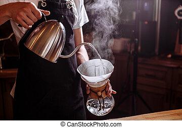 fantastique, café, confection, une, étape