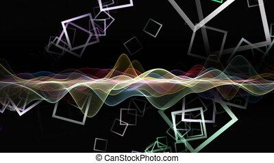 fantastique, carrée, 4096x2304, couleur, objet, vague, mouvement, fond, 4k, changer, animation, boucle
