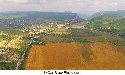 fantastique, champs, terrain, vallonné, panorama, récolte