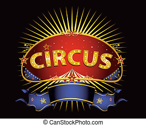 fantastique, cirque, rouges, signe