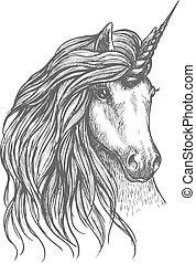 fantastique, conception, cheval, tatouage, croquis, licorne