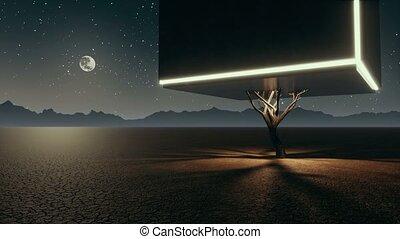 fantastique, cube, irréel, arbre, solitaire, nuit, désert