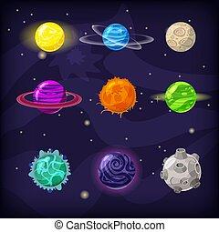 fantastique, ensemble, isolé, cosmique, illustration, fond, vecteur, planètes, dessin animé, style