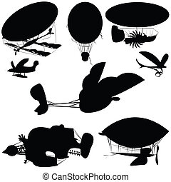 Fantastique flying machines, isolated objects on white ...