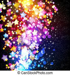 fantastique, illustration., coloré, voler, arrière-plan., clair, vecteur, conception, étoiles