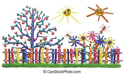 fantastique, jardin, barrière, village
