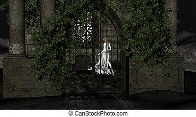 fantastique, magie, crypte, intérieur, sorcière, princesse, ...