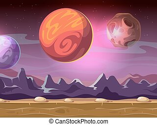 fantastique, planètes, ciel étoilé, étranger, jeu, informatique, fond, lunes, dessin animé, paysage