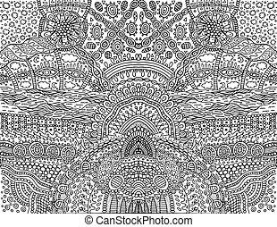 fantastique, vecteur, arrière-plan., symétrique, coloration, griffonnage, dessin animé, adults., page, ornament., illustration, contour, psychédélique, tribal