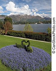 fantastisch, aanzicht, van, tuin, van, villa, carlotta