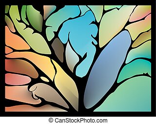 fantastisch, collage, bladeren, takjes, omgeven, artistiek