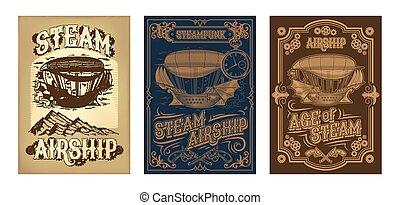 fantastisch, houten, steampunk, vliegen, vector, affiches,...