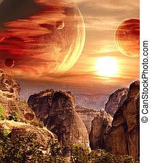 fantastisch, landscape, met, planeet, bergen, ondergaande...