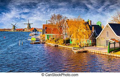 fantastisch, lente, aanzicht, van, hollandse, architectuur