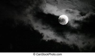 fantastisch, maan, binnen zich beweegt, en, uit, wolken