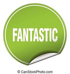 fantastisch, ronde, groene, sticker, vrijstaand, op wit