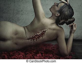 fantastisch, schieten, van, lijden, vrouw