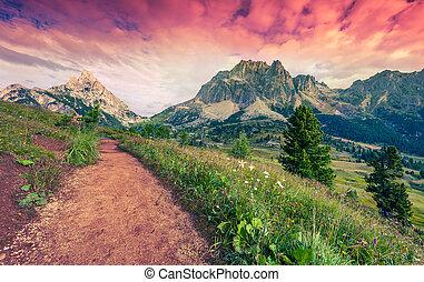 fantastisch, zomer, morgen, op, de, tofane, bergketen