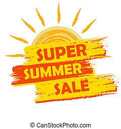 fantastisch, zomer, verkoop, met, zon, meldingsbord, gele,...
