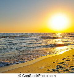 fantastisch, zonopkomst, op, de, oceaan