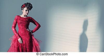 fantastisk, kvinna, tröttsam, fashionbable, röd klä