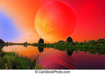 fantastisk, landskap, med, stort, planet, över, stilla, flod