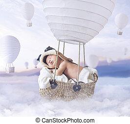 fantasty, garçon, peu, image, voler, balloon