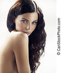 fantastyczny, brunetka, kobieta, z, kędzierzawy włos