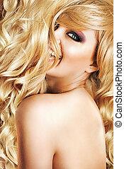 fantastyczny, jej, blond, uczesanie, o, blaga, kobieta
