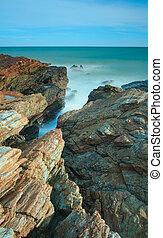 fantastyczny, motyw morski, powierzchnia, długi, skała, ekspozycja