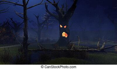 fantastyczny, spooky, drzewa, na, pełzający, bagno, w nocy